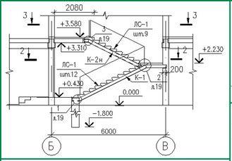 Пример проекта междуэтажной лестницы (разрез).