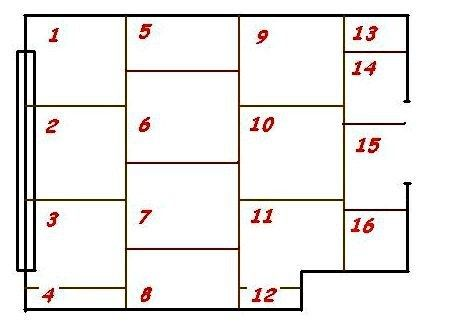 Схема расположения фанерных панелей на полу комнаты