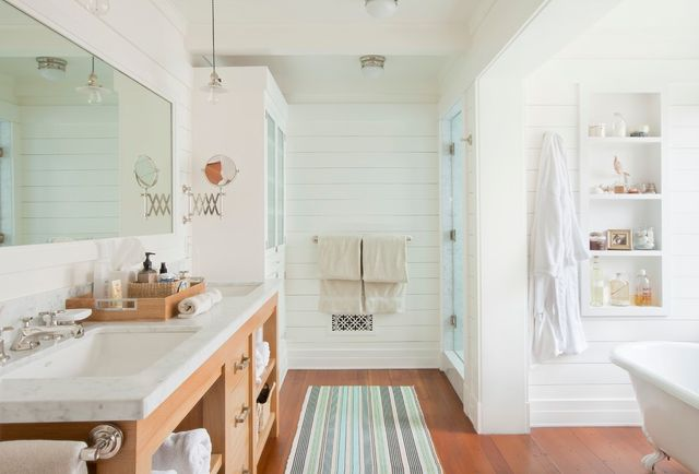 Вариант использование вагонки в ванной комнате