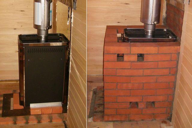 Металлическая печка в бане, обложенная кирпичом